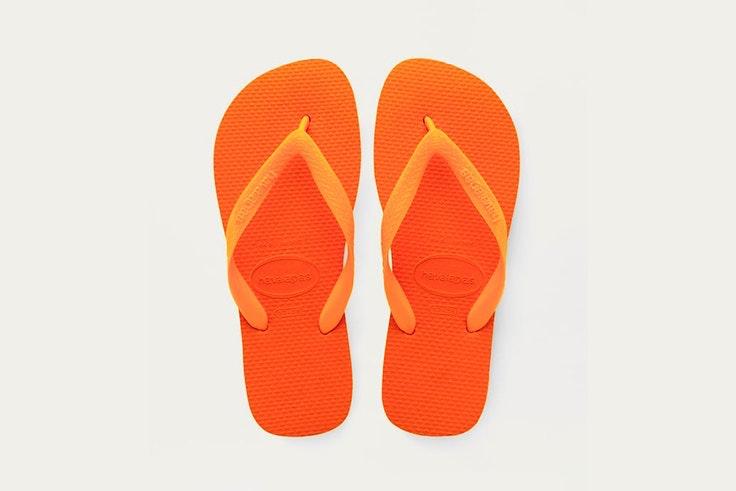 chanclas rayas color naranja pull and bear