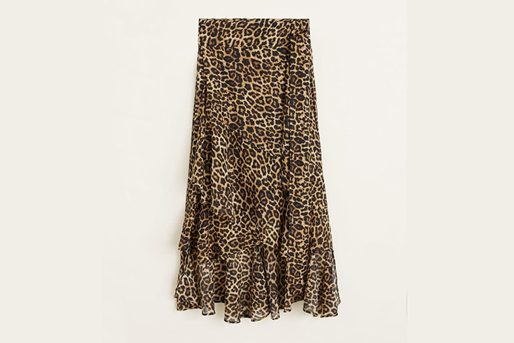 falda leopardo volantes mango