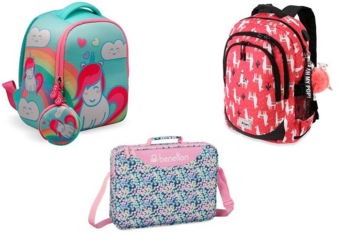 Mochila unicornio (19,99€), mochila llamas Oh my pop (39,99€) y maletín Benetton (17,99 €).