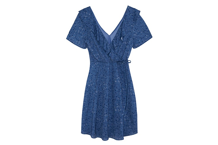 vestido azul estampado flores springfield