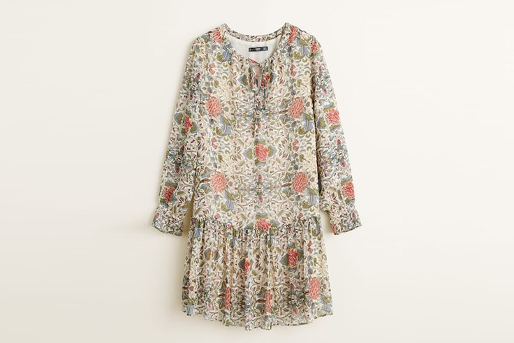 vestido de flores tunica mango