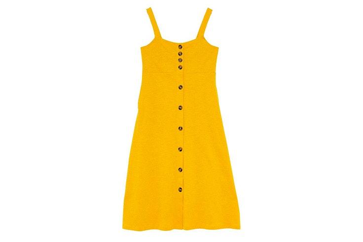 vestido midi amarillo bolsillos sfera