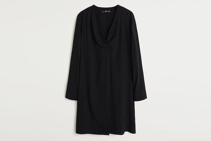 blusa larga cruzada negra mango