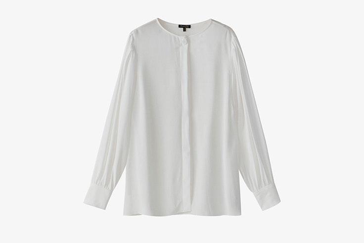 camisa blanca frunce mangas massimo dutti