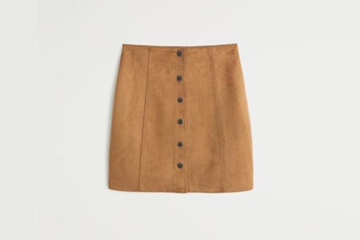 falda color camel ante mango