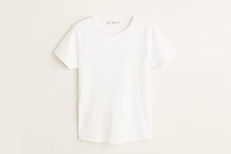 camiseta blanca manga corta mango