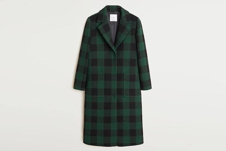 abrigo estampado cuadros verdes negros mango