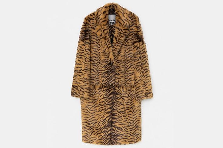 abrigo largo pelo estampado animal print bimba y lola
