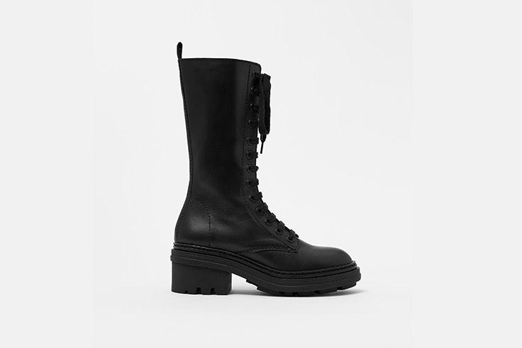 botas moteras de piel con cordones caña alta bimba y lola botas de invierno