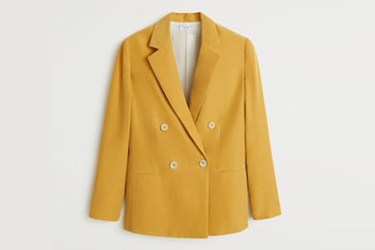 chaqueta americana amarilla mango