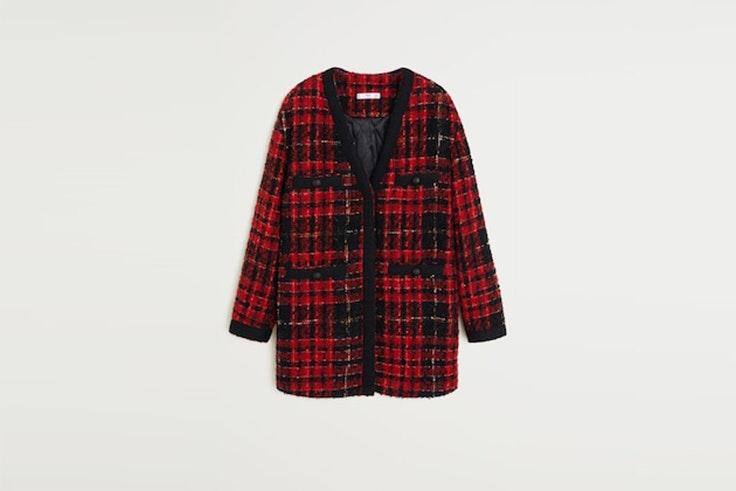 chaqueta de tweed con bolsillos de mango abrigos de las influencers