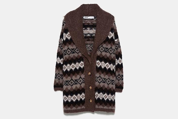 chaqueta jacquard marrón zara