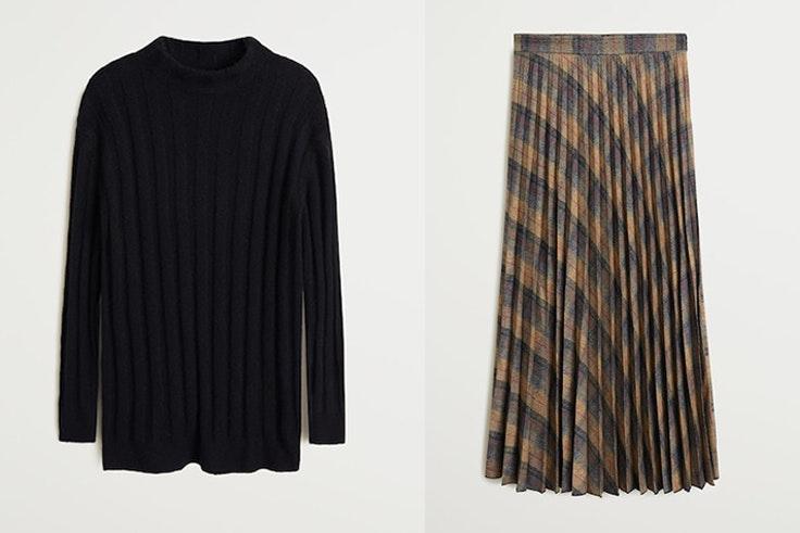 jersey negro punto y falda midi estampado cuadros mango