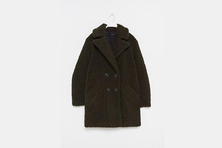 abrigo rizo corto verde sfera prendas de borreguito