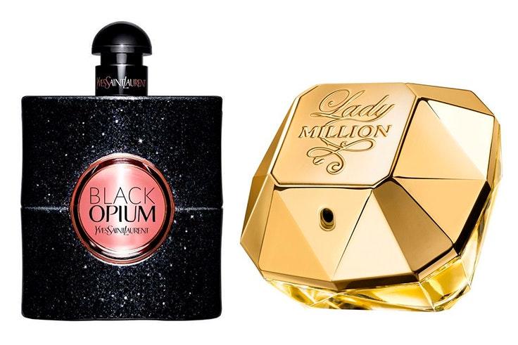Perfume Black Opium (58,95€) y perfume Lady Million (55,84€). De venta en Druni.