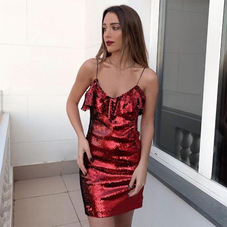 teresa bass estilo instagram vestido rojo lentejuelas