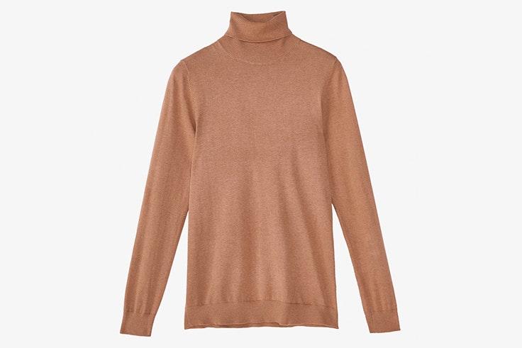 Jersey de cuello alto en color marrón claro de Massimo Dutti