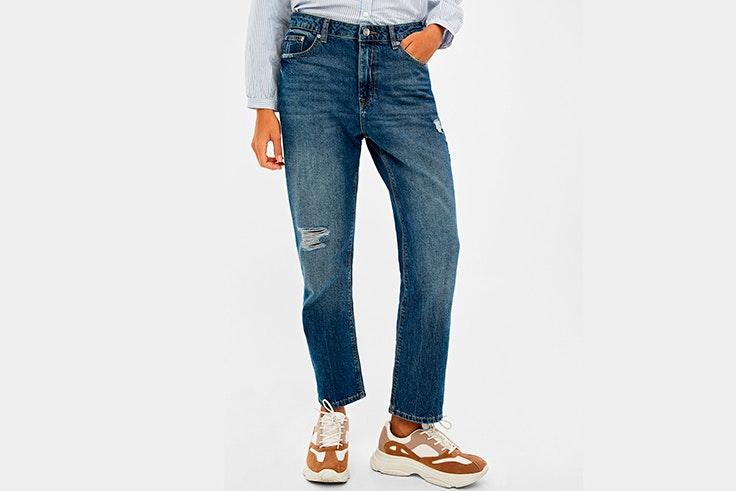 Pantalón vaquero ancho con detalles desgastados de Springfield