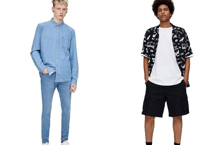 Jeans superskinny efecto desgastado (19,99€ 9,99€) y Bermuda cargo cinturón hebilla (19,99€ 15,99€) Pull&Bear