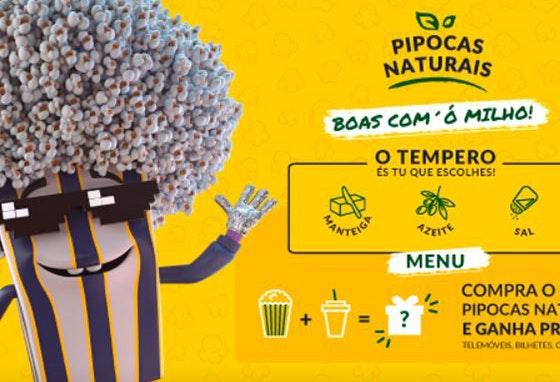 Nos Cinemas Cineplace na compra do menu de pipocas naturais ou mistas habilita-se a ganhar prémios fabulosos.