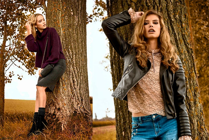 moda, otoño, falda, jersey, cazadora, vaqueros