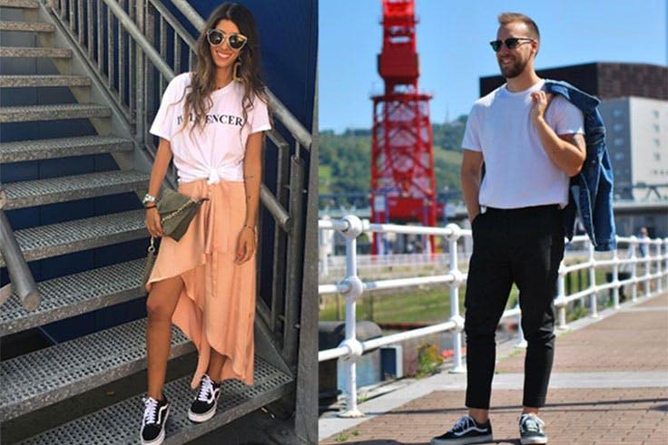 A la izquierda, la personal shopper gallega @maarttaan, luce como nadie sus outfits con zapatillas, y es fácil verla tanto con un tacón como con unas deportivas, sin perder ni un ápice de su estilazo. A la derecha, nuestro blogger bilbaíno @javicare, al que también podemos ver en sus redes sociales con diferentes modelos de este calzado. En estas fotos, ambos lucen el mismo modelo de zapatilla, las Vans Old Skool (Ulanka, 75,00€)
