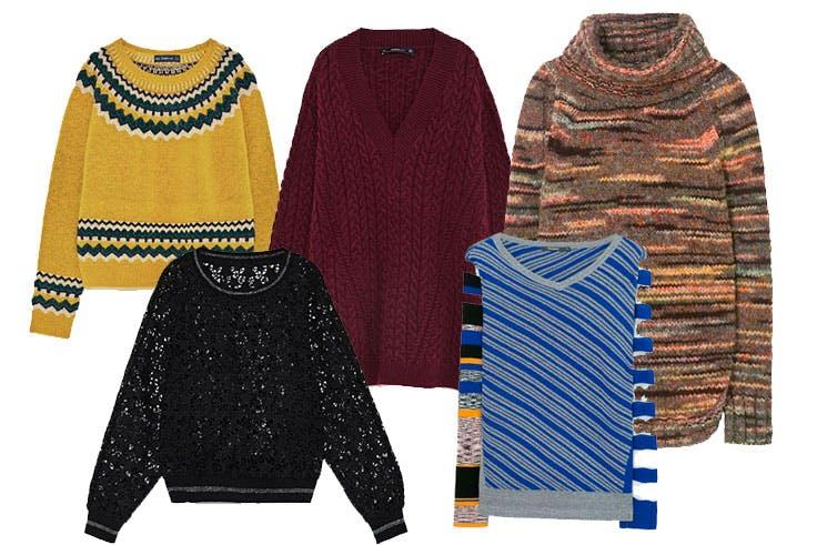 Jersey mostaza de Zara (29,95€) / Jersey oversize burdeos de Zara (39,95€) / Jersey a colores de Desigual (89,95€) / Jersey de encaje de Zara (25,95€) / Jersey a rayas de Desigual (75,95€)