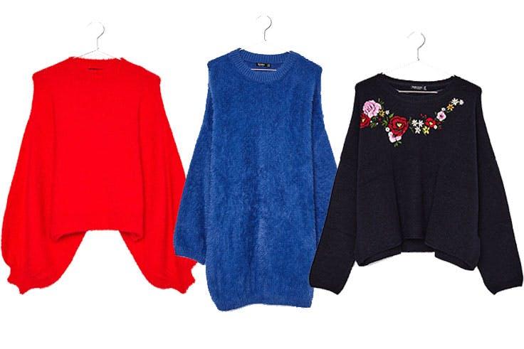 Jersey rojo de Bershka (22,99€) / Jersey oversize de Bershka (24,99€) / Jersey con bordado floral de Bershka (22,99€)