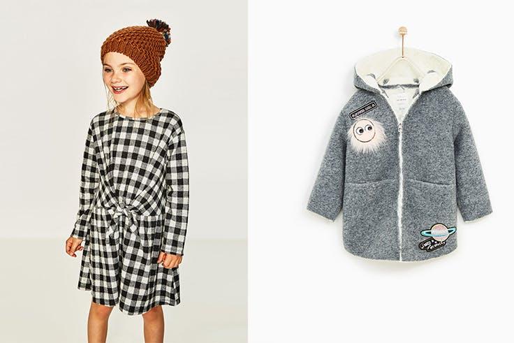 Vestido de cuadros lazada (19,95€), chaquetón doble faz pelo (35,95€), Zara.