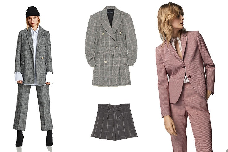 Blazzer cruzada de Zara (59,95 euros) / Chaqueta vestido de Zara (89,95 euros) / Shorts de tiro alto de Pull & Bear (15,95 euros) / Traje completo de Máximo Dutti (129,00 euros)
