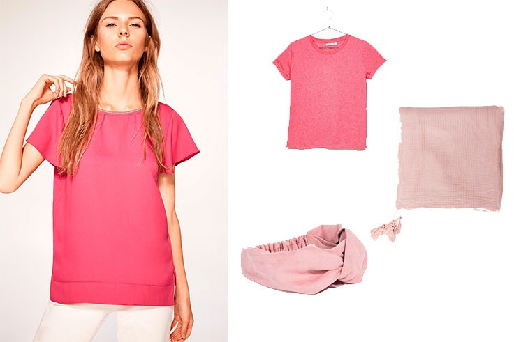 Camiseta de Cortefiel (14,99 euros) / Camiseta rosa de Bershka (5,99 euros) / Diadema para el pelo de Parfois (7,99 euros) / Pañuelo rosa de Etam (12,99 euros).