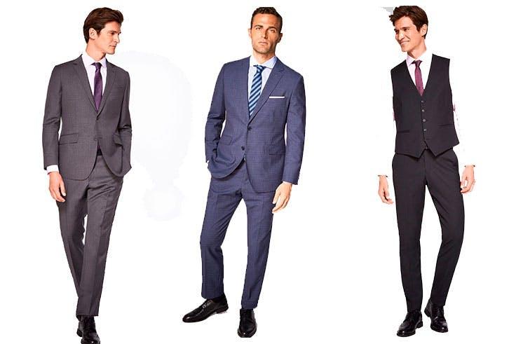 Pantalón gris de Cortefiel (69,99 €) / Pantalón azul de Cortefiel (79,99 €) / Pantalón negro de Cortefiel (69,99 €).