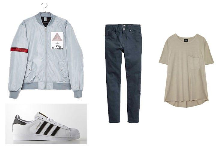 Bomber de Bershka (29,99 euros) / Adidas Superstar (99,95 euros) / Pantalón Skinny de H&M (19,99 euros) / Camiseta básica de Pull and Bear (7,99 euros)
