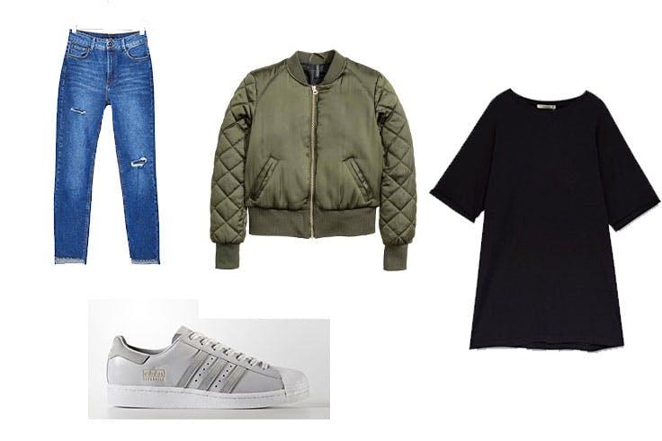 Pantalón Skinny de Bershka (25,99 euros) / Zapatillas Superstar (129,99 euros) / Bomber de H&M (29,99 euros) / Camiseta oversize de Pull & Bear (9,99 euros).