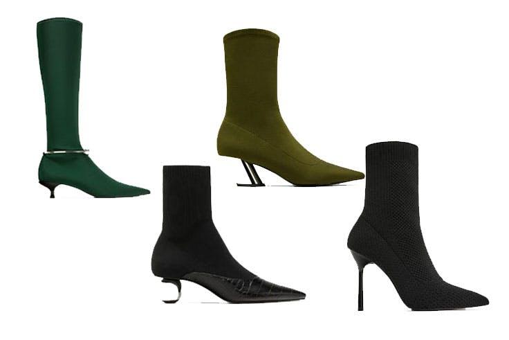 Bota calcetín verde de Zara (39,95€) / Bota calcetín negro de Zara (55,95€) / Bota calcetín verde caqui de Zara (39,95€) / Bota calcetín con tacón de Zara 49,95€)