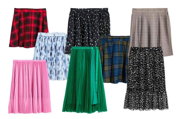Falda plisada a cuadros (19,99€) / Falda plisada azul (11,99€) / Falda negra (19,99€) / Falda a cuadros azul (19,99€) / Falda gris (29,99€) / Falda rosa (49,99€) / Falda verde (59,99€) / Falda plisada con malla (29,99€) / H&M