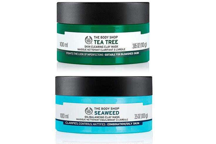 Mascarilla de arcilla de árbol de té de The Body Shop (14,00€) / Mascarilla de arcilla de algas marinas (21,00€)