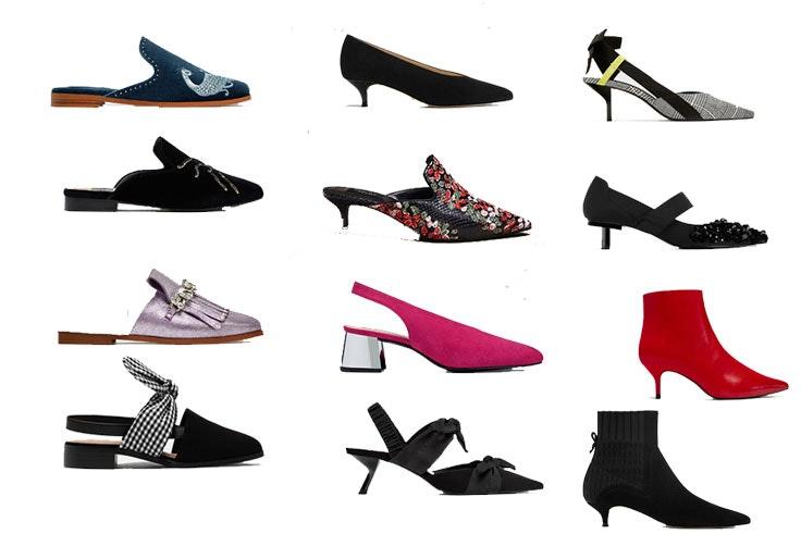 Mocasín azul de Zara (35,95€) / Mocasín negro de Zara (25,95€) / Mocasín violeta de Zara (49,95€) / Mocasín con tira de Pull&Bear (25,99€) / Zapato negro destalonado de Massimo Dutti (69,95€) / Zapato floral de Massimo Dutti (99,95€) / Zapato rosa de Pull&Bear (35,95€) / Zapato con plumas de Zara (29,95€) / Zapato a cuadros de Zara (29,95€) / Zapato negro de Zara (49,95€) / Botín con tacón destalonado en rojo de Zara (29,95€) / Botín con tacón destalonado en negro de Massimo Dutti (99,95€)