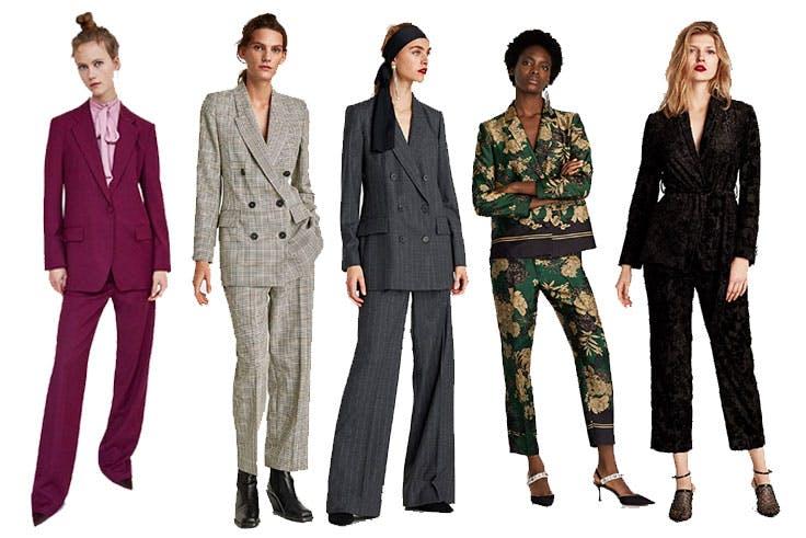 Blazer masculina (79,99€) / Blazer a cuadros (69,99€) / Pantalón ancho (39,95€) / Pantalón floral (29,95€) / Pantalón de traje (39,95€) / Zara