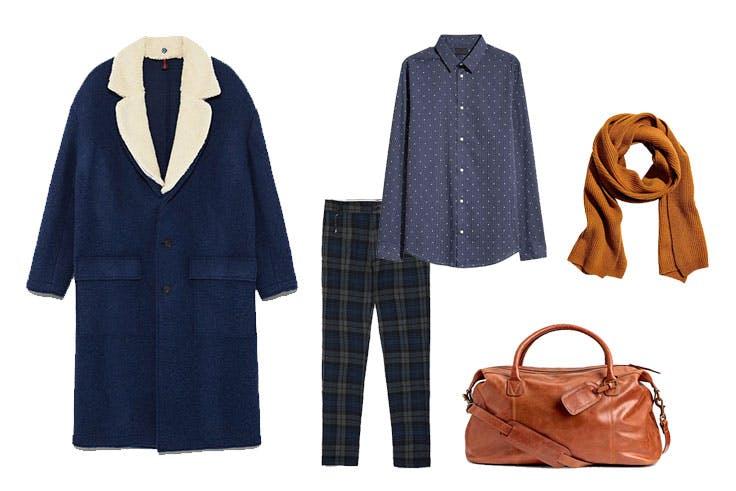 Abrigo de Zara (129,00€) / Pantalón de Zara (39,95€) / Camisa de H&M (24,99€) / Bufanda de H&M (69,99€) / Bolsa de viaje de H&M (199,00€)
