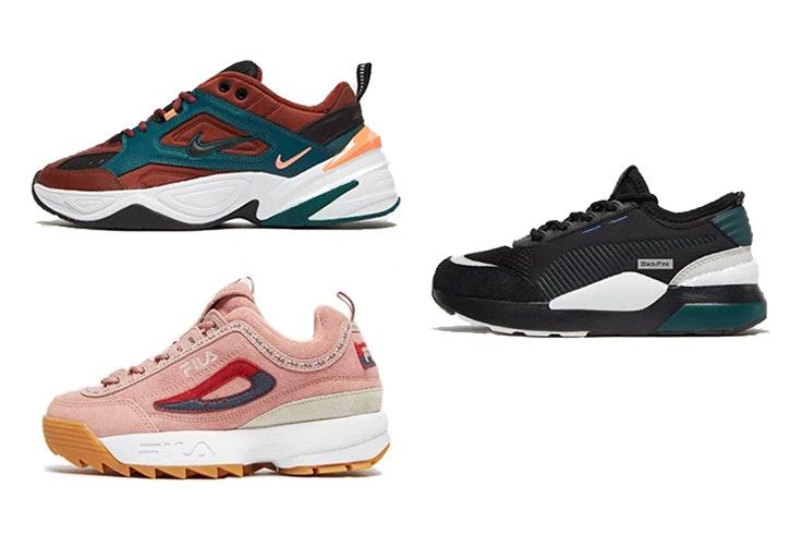 Nike M2K Tekno (100€) Fila Disruptor (110€), Puma RS-0 Toys infantil (65€). Todo el calzado es de JD