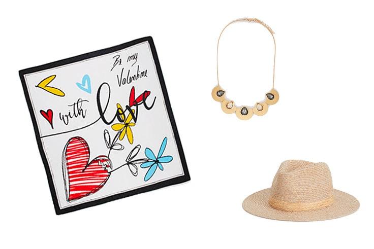 Artículos de Parfois: Pañielo cuadrado Día de la Madre (19,99€)/Collar Frost (12,99€)/Sombrero efecto rafia (15,99€)
