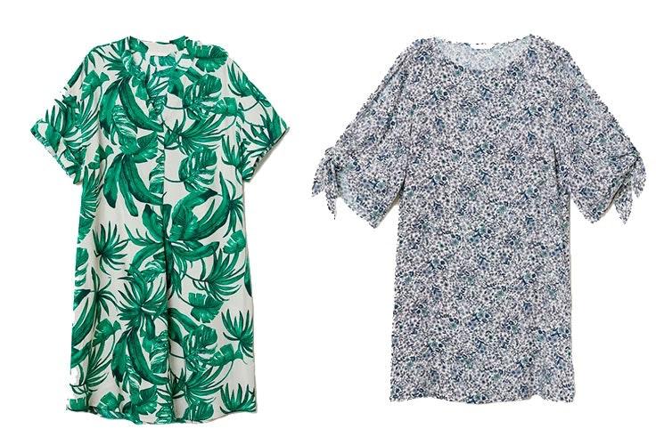 Prendas de H&M: Vestido con escote de pico y estampado tropical (19,99€)/Vestido floral con mangas trompeta (19,99€)