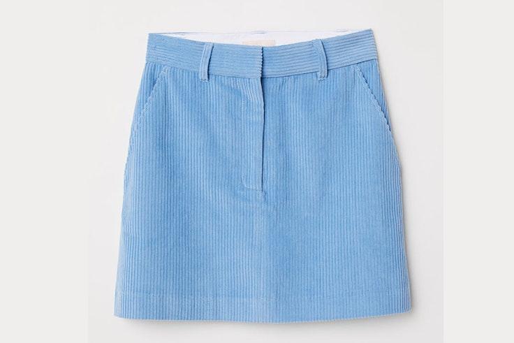 falda-corta-pana-azul-hm