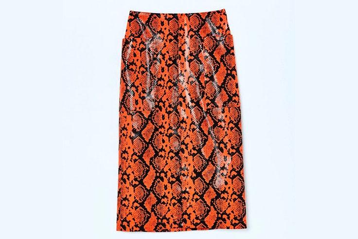 falda-cuero-estampado-serpiente-naranja-sfera