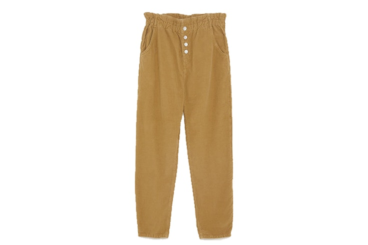 Pantalón pana cintura paperbag (12,99€) de ZARA