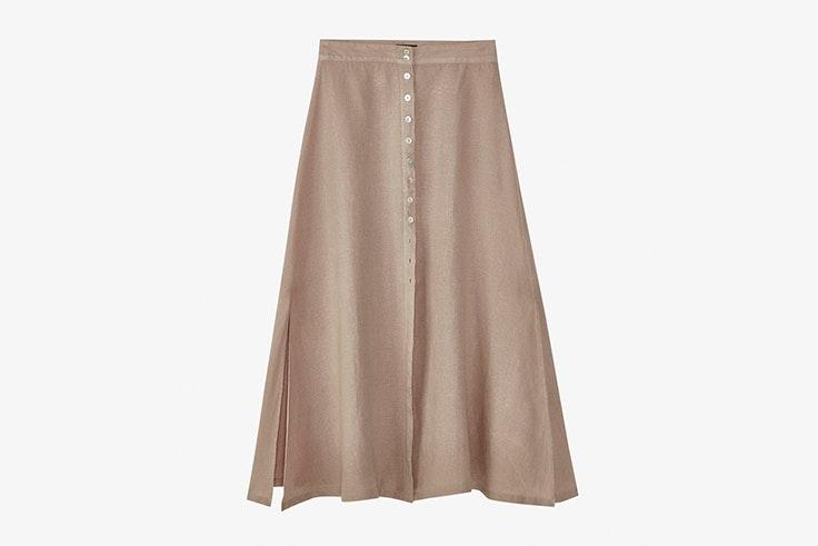 falda-lino-larga-botones-massimo-dutti