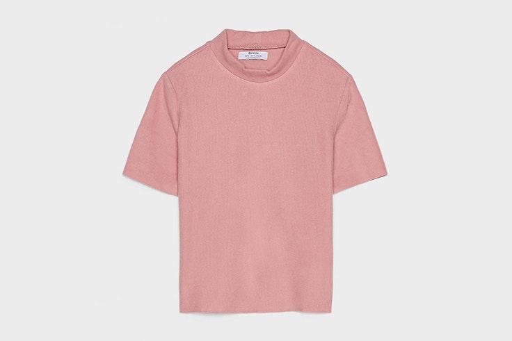 camiseta manga corta rosa bershka