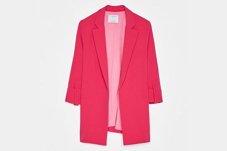 chaqueta blazer rosa fucsia bershka