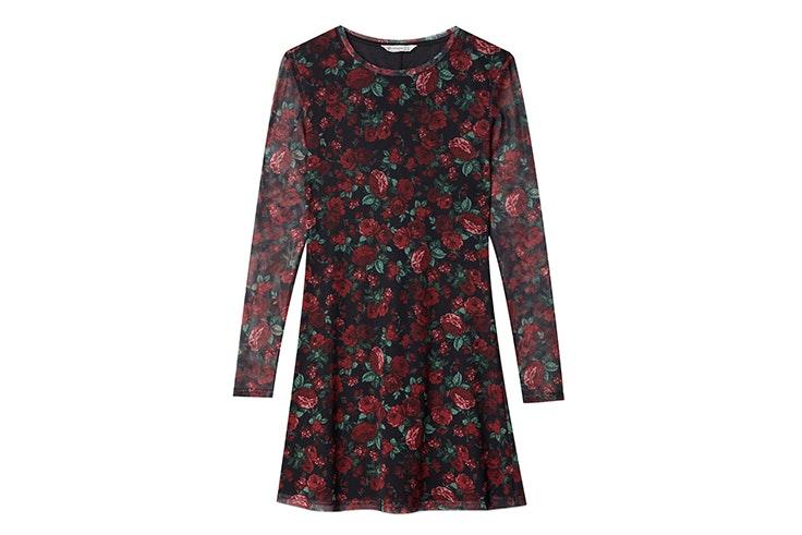 vestido corto estampado flores rojas stradivarius